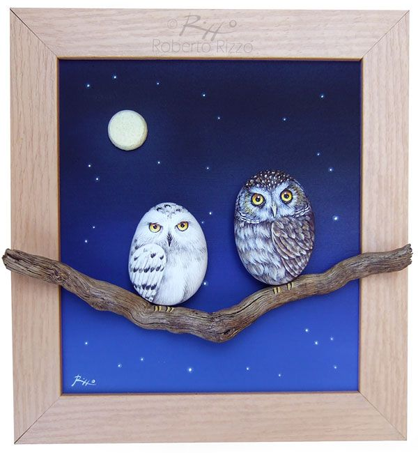A unique piece of art! A 3-D frame made with rock painted owls, acrylic on panel (for the sky), a natural branch and cork plug section for the moon! | www.robertorizzo.com