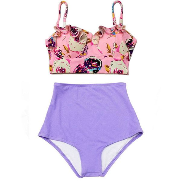Pink Pastel Rose Midkini Top and Violet Purple High Waisted Shorts... ($40) ❤ liked on Polyvore featuring swimwear, bikinis, bathing suits, bikini, swim, swimsuits, bikini swimsuit, retro swimsuit, retro high waisted bikini and vintage high waisted swimsuit
