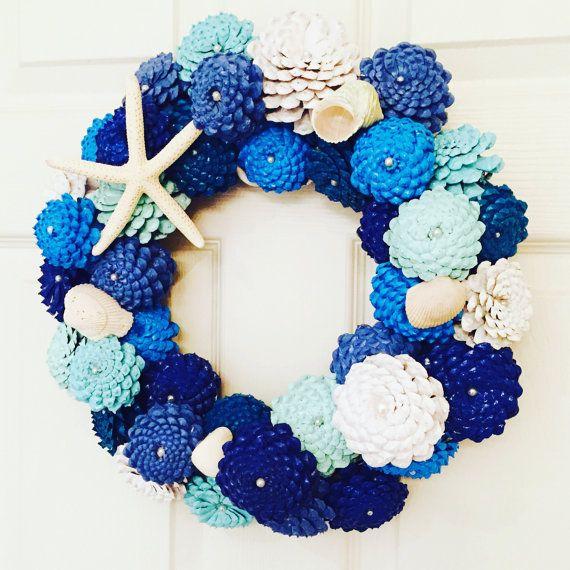 Zinnia Pinecone Wreath, Beach Cottage Decor, Coastal Wreath, Nautical Wall Decoration, Shabby Chic, Door Hanger, Door Decoration, Wall Art