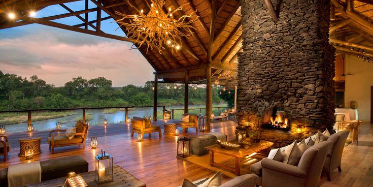 Lion Sands River Lodge Sabi Sand Game Reserve, South Africa Country Elegant Lounge Luxury Scenic views Resort Villa restaurant hacienda