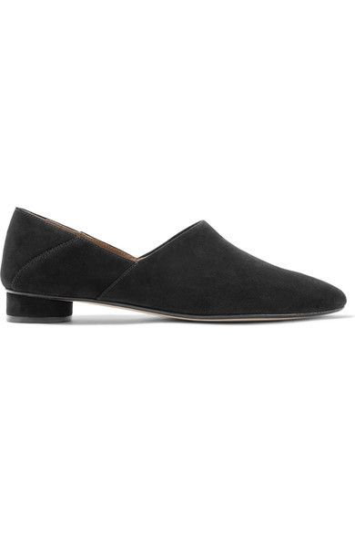 The Row - Noelle Collapsible-heel Suede Loafers - Black