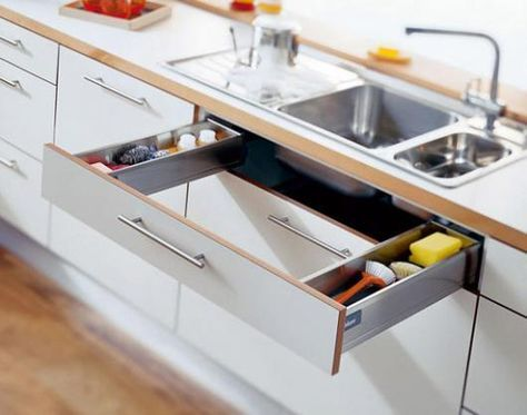 Great use of space and less clutter on the benches Kitchen Design Ideas by Blum Australia