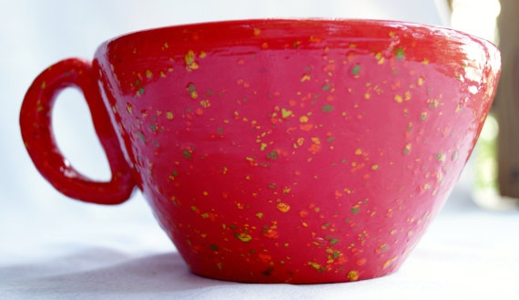 Handthrown+coffee+cup+two+toned+solid+red+by+BallsBeadsandPottery,+$15.00