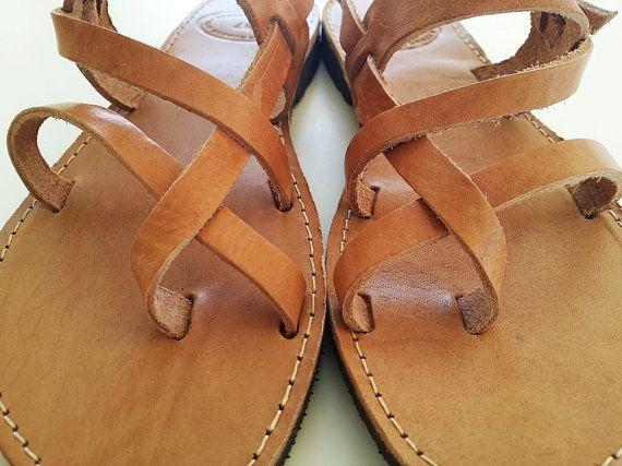 6c488f7fd6d865 Men Sandals-Ancient Greek Sandals in Brown Natural Leather Color-Men leather  Sandals - Men Flats in 2019