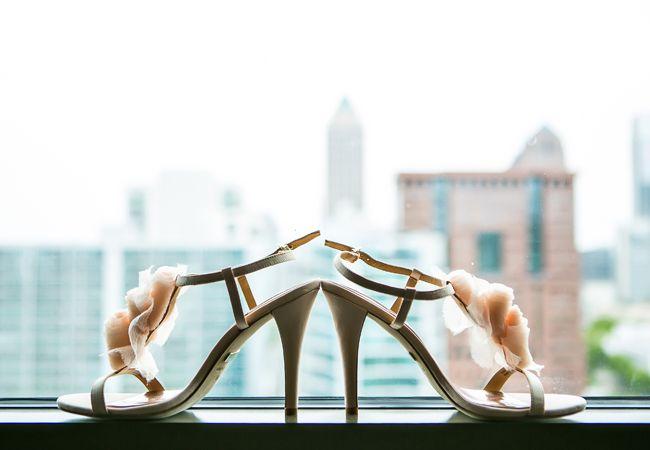 Blush bridal shoes // Carla Gates Photography // http://blog.theknot