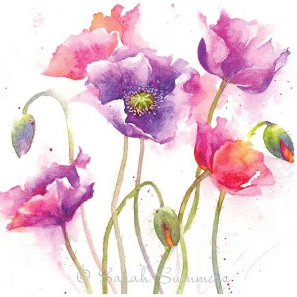 6188 best art watercolors images on pinterest for Pretty flower paintings