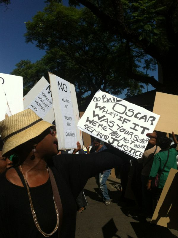 Watching protest by women's group outside #Pretoria Magistrates Court. #Pistorius
