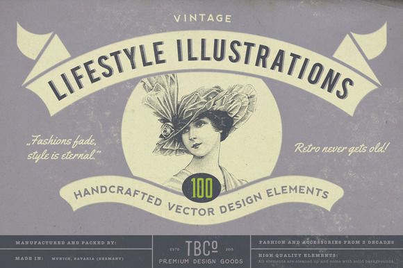 100 Vintage Lifestyle Illustrations by The Beacon Collection on Creative Market