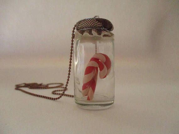 Christmas candy cane jar necklace Christmas necklace candy
