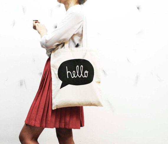 hand screenprinted cotton shopping bag hand screen by AIYshop