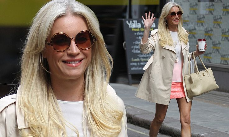 Denise Van Outen wears barely there brightly coloured mini skirt