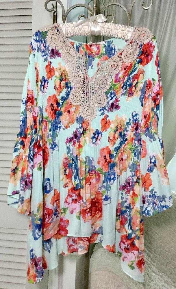 8d5c499719eb1f NEW ~ Plus Size 1X Green Mint Floral Lace Crochet Boho Spense Top Blouse  Shirt #Spense #Blouse #AnyOccasion