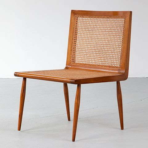 "Joaquim Tenreiro, Brazil Low Bedroom Chair in caviona with woven cane seat and back. (seat: 15"" H)"