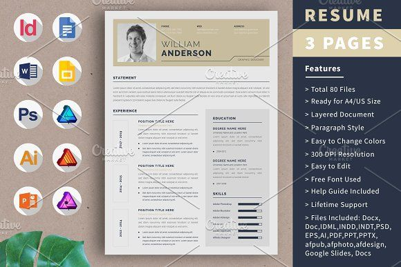 Resume Template Cv Design 3 Page By Alice S On Creativemarket Cv Design Resume Template Resume