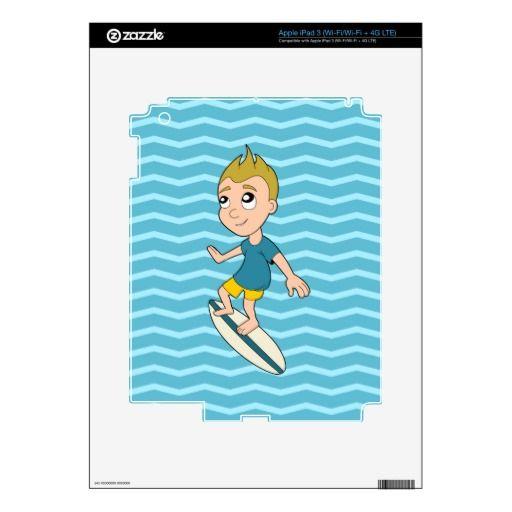Surfing boy cartoon iPad skin