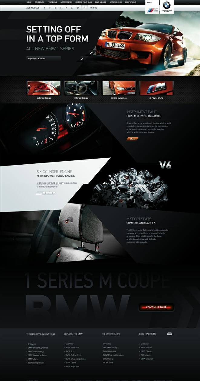 BMW M1 Coupe - Web design