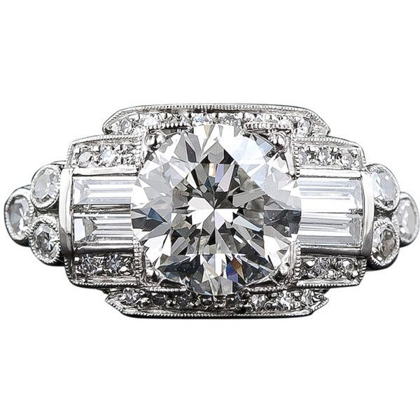 Preowned 1.93 Carat Art Deco Diamond Ring ($27,500) ❤ liked on Polyvore featuring jewelry, rings, multiple, art deco inspired engagement rings, diamond rings, pre owned engagement rings, diamond jewelry and baguette engagement ring