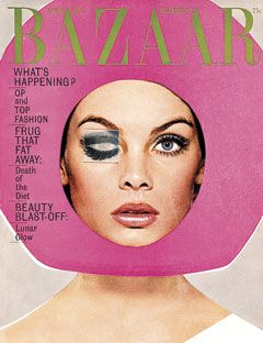"Vintage Harper's Bazaar Cover April 1965 Richard Avedon ...""OP and Top Fashions"" ""Frug That Fat Away"" ""Beauty Blast-off"" and ""Lunar Glow"": Art Director, Richard Avedon, Bright Pink, April 1965, Harpers Bazaars, Jeans Shrimpton, Fashion Photography, Bazaars Covers, Magazines Covers"