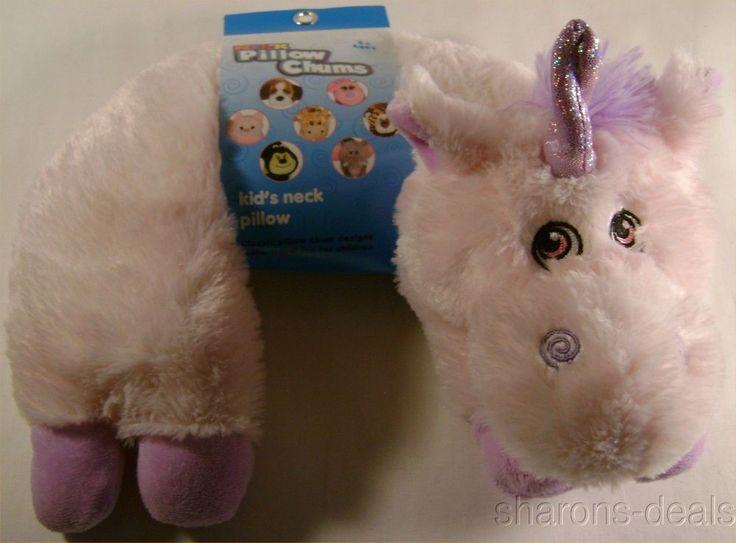 Unicorn Neck Support Pillow Kellytoy Chums Kids Travel Plane Auto Plush Toddler #Kellytoy