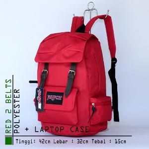 Tas Ransel Wanita Jansport Besar Polyester 2 belts Merah 1259