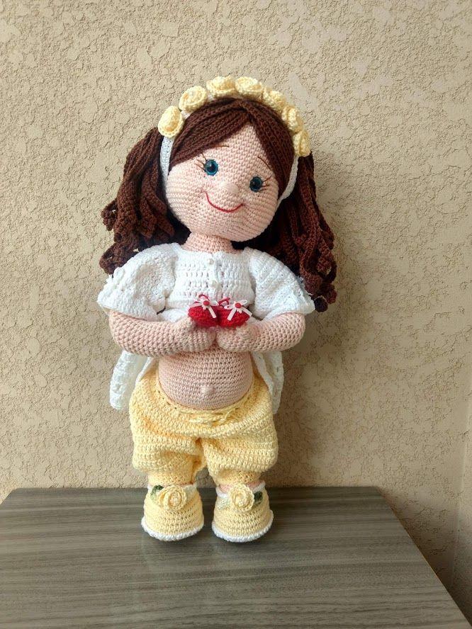 Boneca Amigurumi Em Crochê Com Cheirinho De Bebê - R$ 69,70 em ... | 888x666