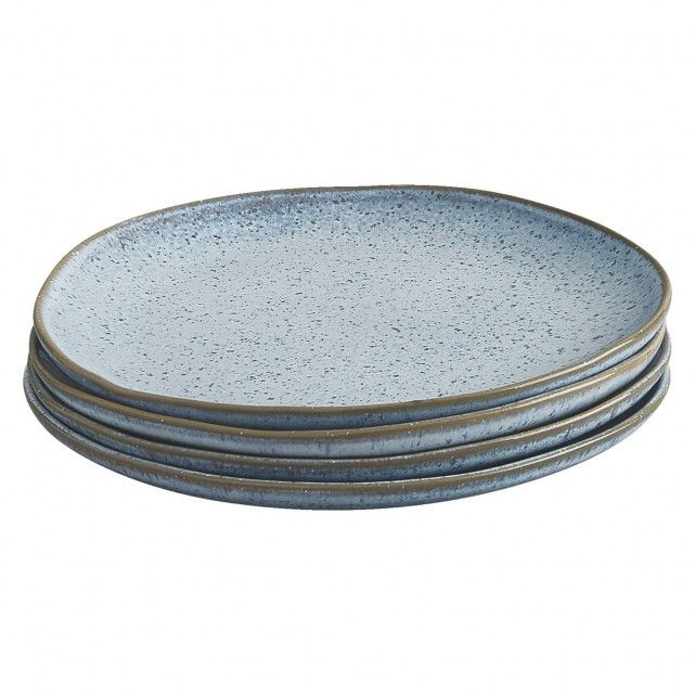 A Habitat-exclusive design, the beautiful Olmo light blue speckled side plate has a natural, organic shape with a rim in a complementary earth tone.[br]Made in Portugal, the durable stoneware plate is part of the Olmo range of tableware and, due to the reactive glaze, no two pieces are alike.[br]Set includes 4 side plates.[br]Other colours available in the range.