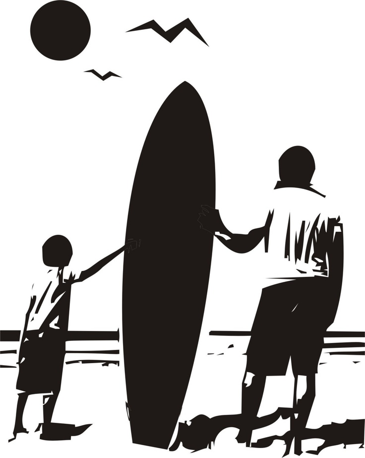Boy And Dad With Surfboard Staring Into Ocean Sticker Wall