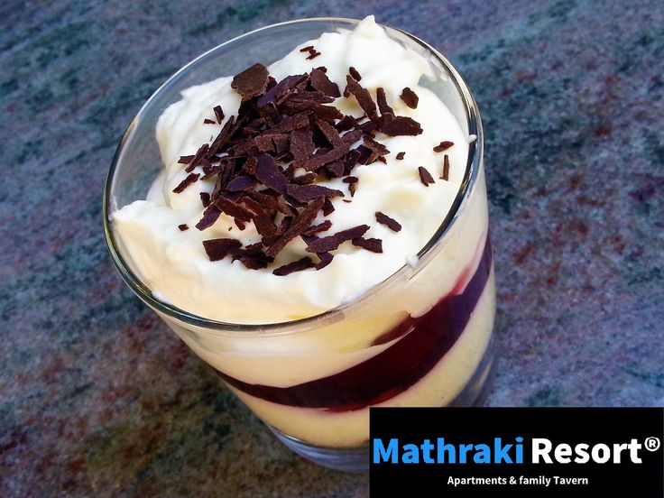Vanilla&cream parfait. With cherries and chocolate to top it off... Enjoy! #Dessert #Parfait #Vanilla #Cream #Mathraki #Resort #Gouvia #Corfu #Greece