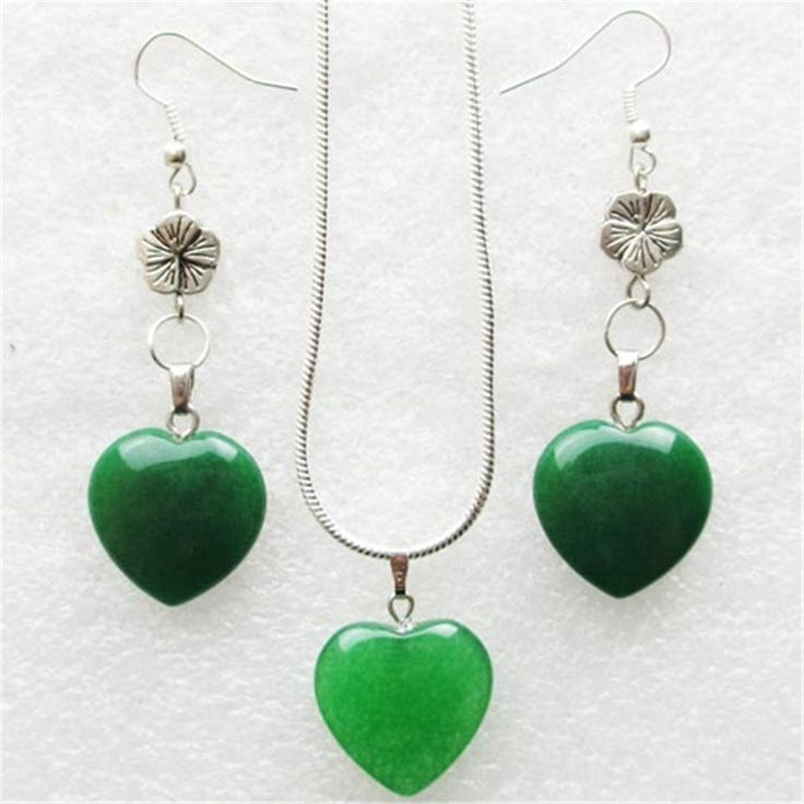 Fashion Green Jade Gemstone Heart Necklace & Earrings Sets: