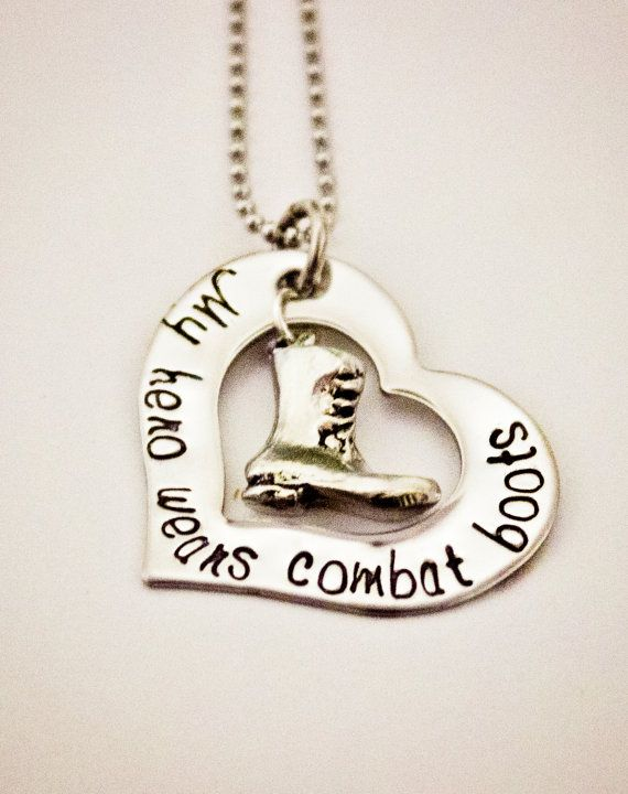 My hero wears combat boots  Hand Stamped stainless steel necklace, deployment jewelry