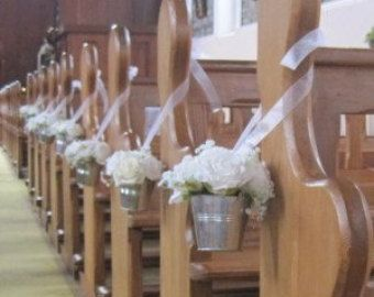 Church Pew Decorations for Weddings | Wedding ivory rose pew ends, church décor, table centrepieces, silver ...