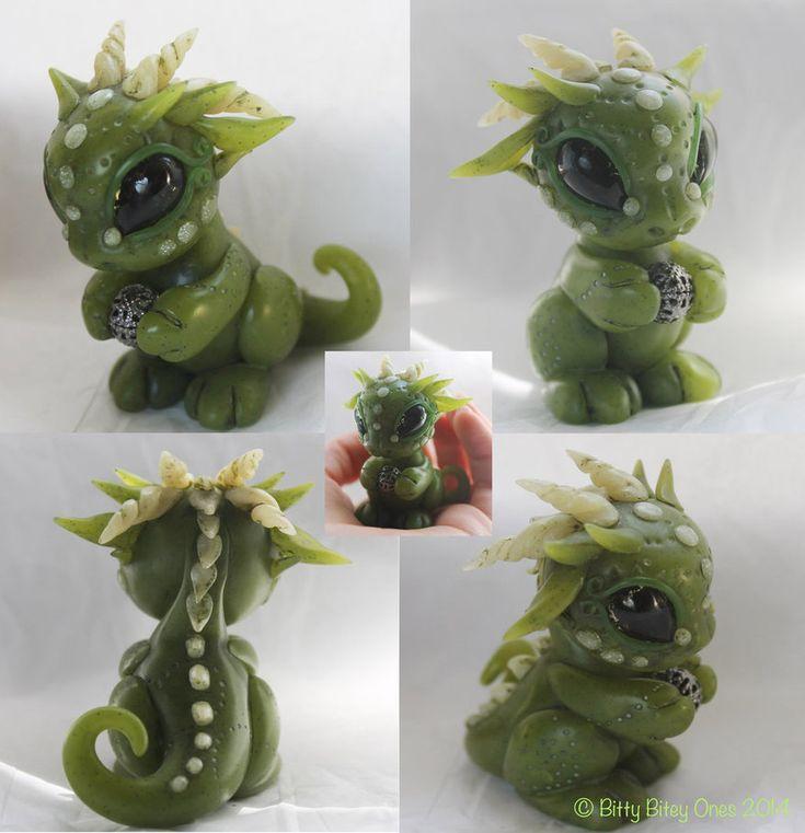 Polymer clay faux Jade dragon by  BittyBiteyOnes on deviantART