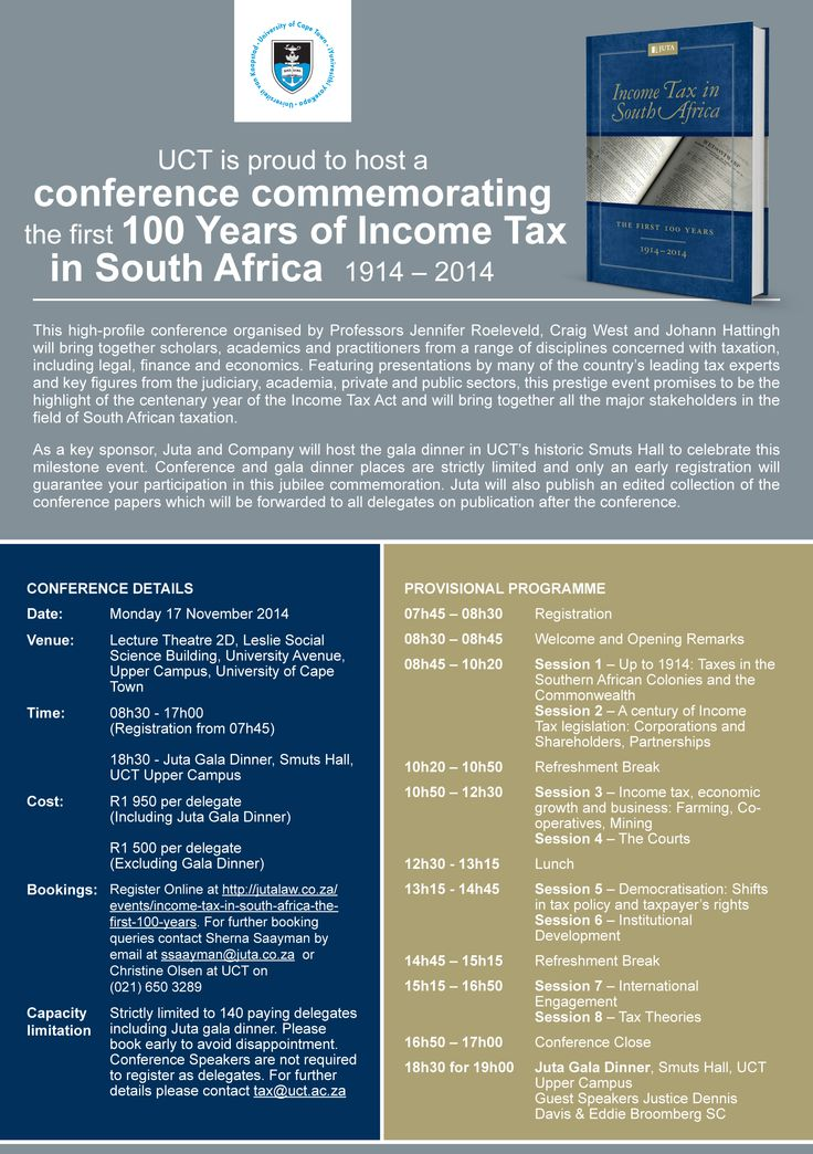 UCT is proud to host a conference commemorating the first 100 years on Income Tax in South Africa.