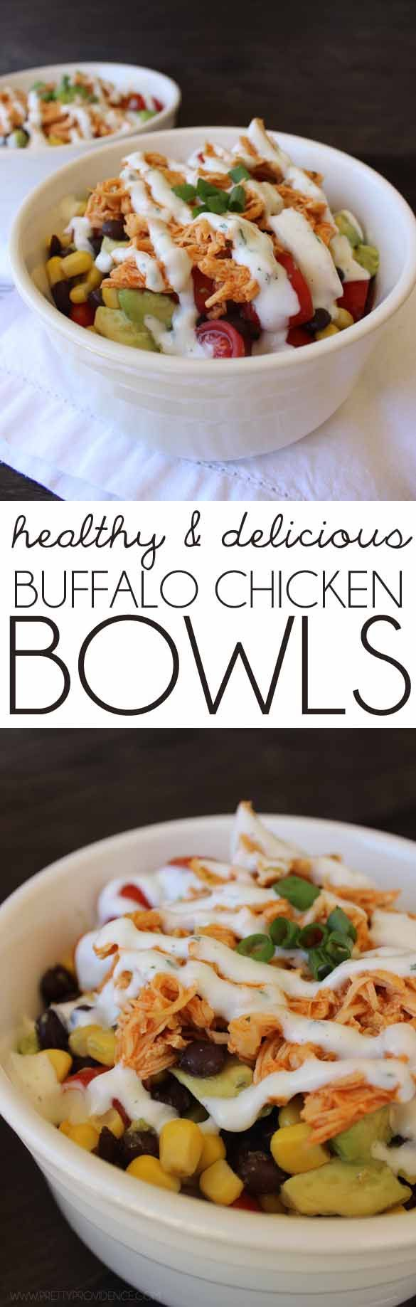 I literally eat this recipe twice a week since I've started my healthy lifestyle! These healthy buffalo chicken bowls are to die for good!