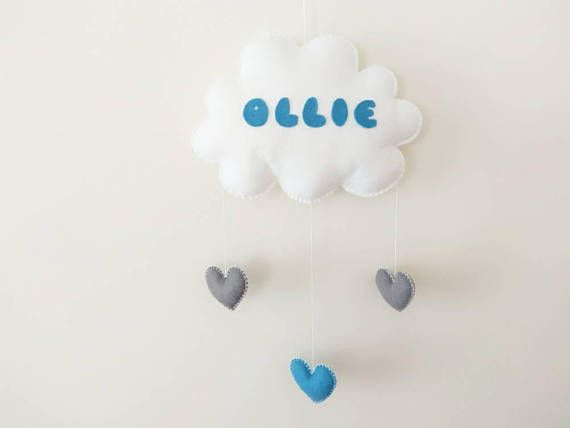 Check out this item in my Etsy shop https://www.etsy.com/listing/584183896/baby-mobile-baby-name-mobile-cloud