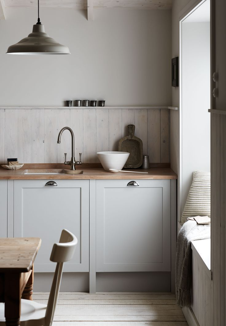Kitchen decor with grey cabinets and oak worktop | modern take on the traditional English kitchen. Organic feel and look.