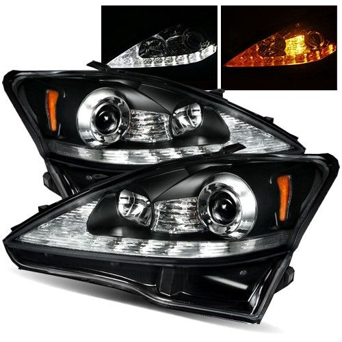 For 06 09 Is250 Is350 Black White Drl Amber Signal Led Projector Headlights White Lexus Lexus Is250 Lexus