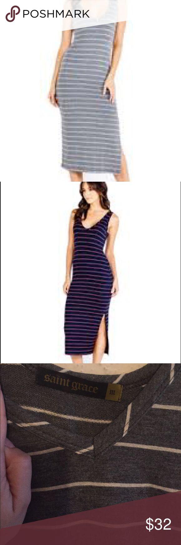 Saint grace midi dress NWOT Saint grace midi charcoal striped dress NWOT. Love this dress, but it doesn't fit me :( saint grace Dresses Midi
