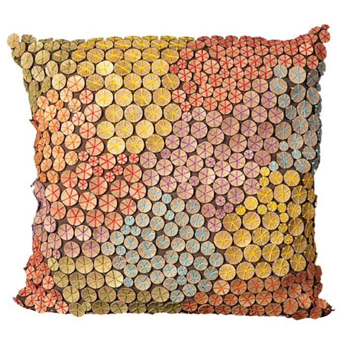 Garbo Pillow in Multi this gorgeous cushion has darling decorated circles like little nasturtium leaves!: Crafty Things, Love It, Decor Circles, Crafts Inspiration, Buttons, Leaves, Pillows Brownmulti, Garbo Pillows, Textiles Cushions Pillows