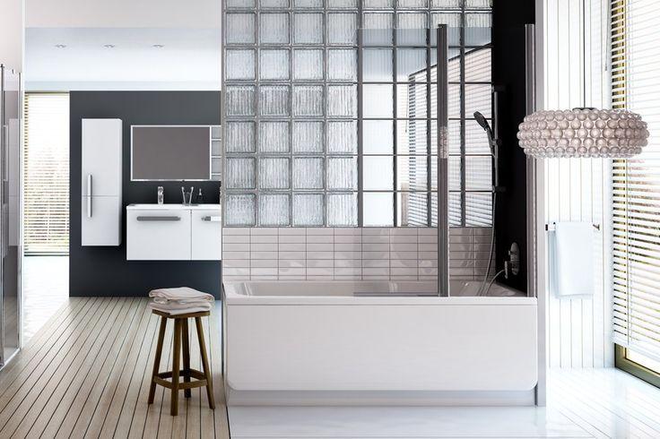 HOME - La baignoire Chrome est rectangulaire, mais arrondie à l'intérieur ! Une forme design et confortable, de plus on peut ajouter une paroi pour créer un espace douche