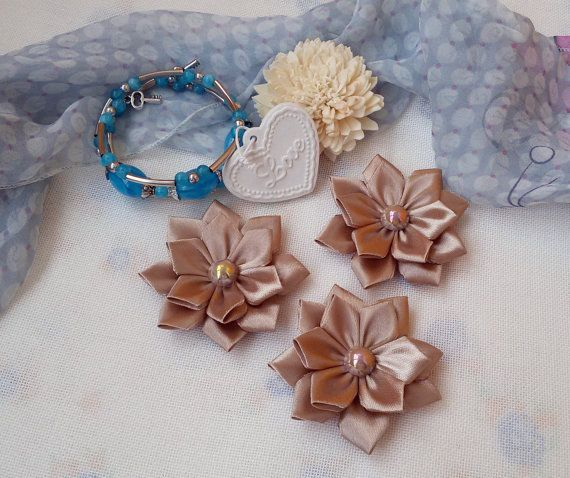 3 brown ribbon flowers brown applique flowers by Rocreanique on Etsy