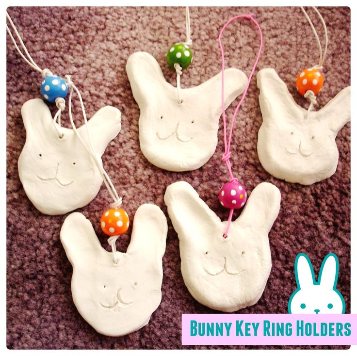 Bunny key ring holders from clay