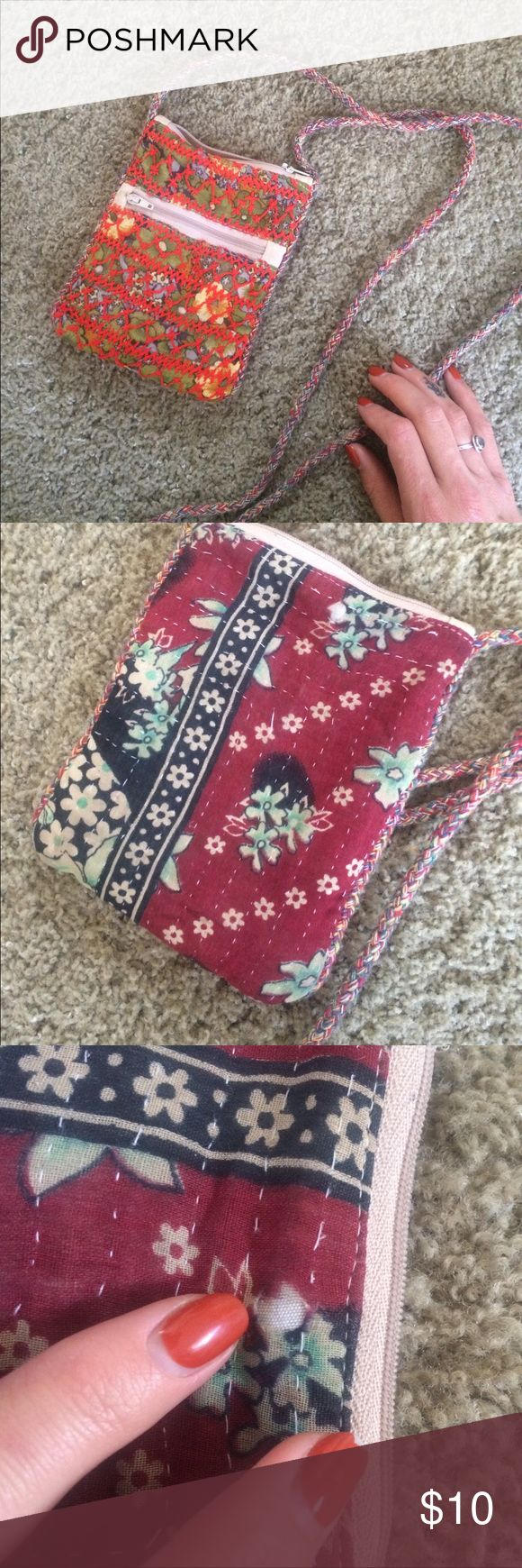 Adorable fabric small boho purse Bought at world market in san diego, which is like a bohemian market home decor store. Amazing bag, zippers work great, my finger shows the small hole. Stap is about 2 feet long depending on how heavy, hits at hip, fits cards and big smartphone Free People Bags Mini Bags