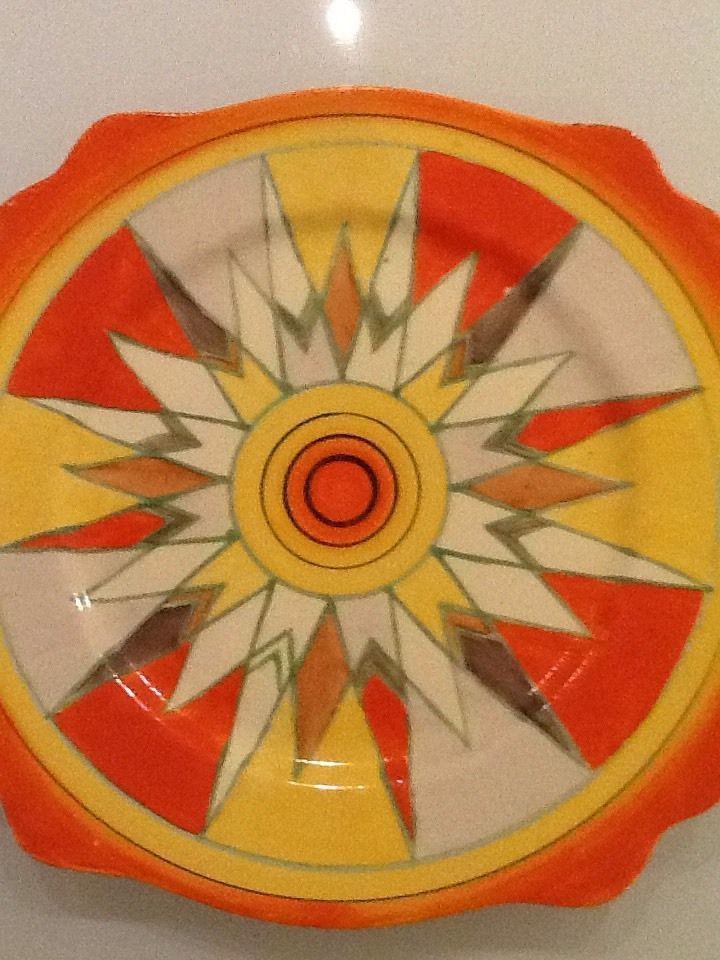 Rare Clarice Cliffe signed Art Deco Plate in Pottery, Porcelain & Glass, Pottery, Clarice Cliff   eBay