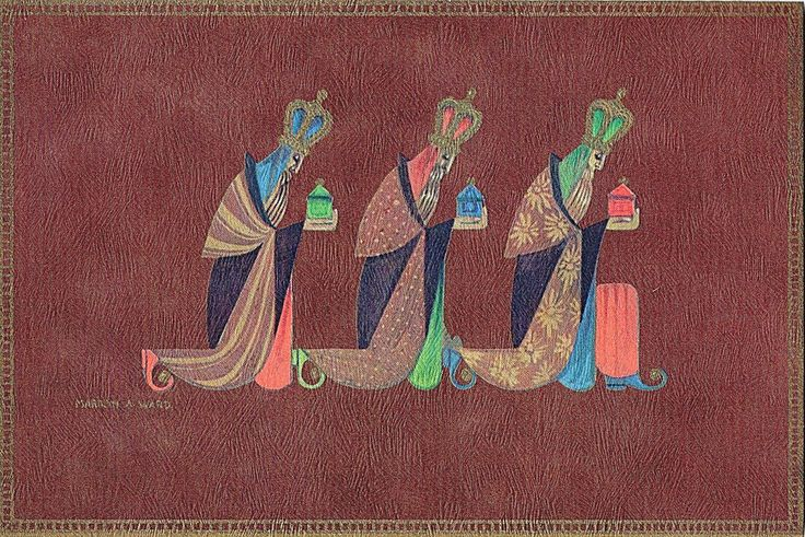 Vtg MId Century XMAS Card THE 3 KINGS/WISE MEN PRESENT GIFTS Artist Marilyn Ward