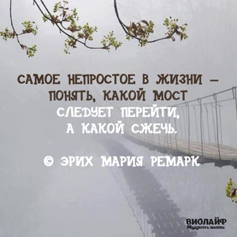 The most difficult in life is to know which bridge to cross and which to burn. Erich Maria Remarque.