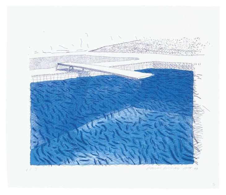 David Hockney 'Lithographic Water Made of Lines, Crayon and Two Blue Washes Without Green Wash', 1978–80 © David Hockney