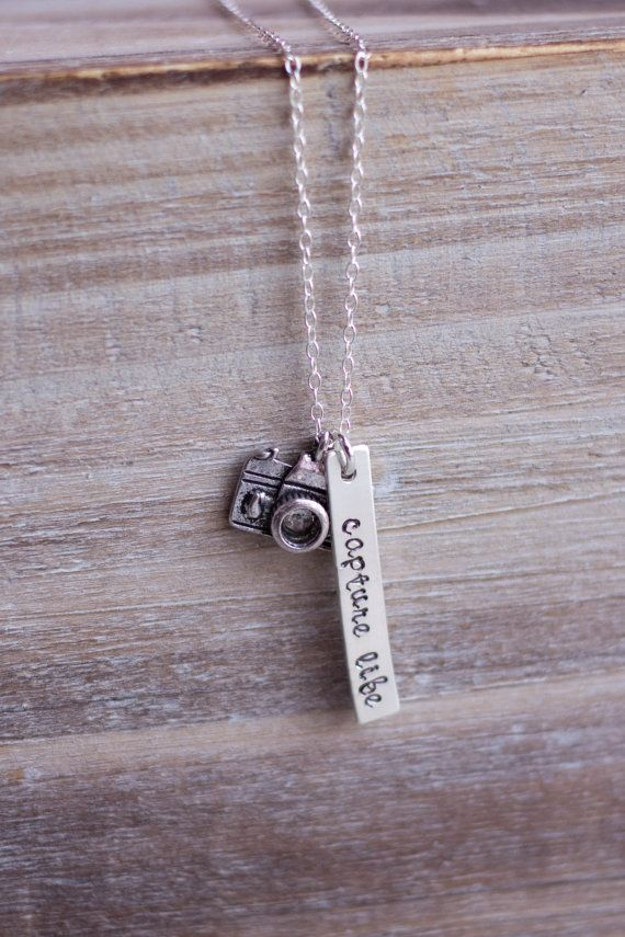 Camera Necklace - Hand Stamped Capture Life Photography Necklace - Sterling Silver on Etsy, $30.00
