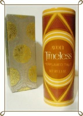 Vintage 70s Avon Timeless Perfumed Talc w Box