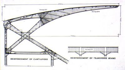 """Pier Luigi Nervi.  Detail of the reinforced concrete cantilever.  Artemio Franchi Municipal Stadium (Stadio Comunale """"Artemio Franchi""""), in Florence, Firenze, Tuscany, Italy, built in 1929 - 1932.    Structure: A reinforced horizontal concrete cantilever structure.  Seats: 35,000"""